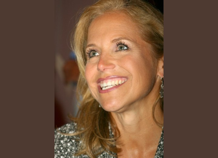 Katie Couric's hair with a cowlick