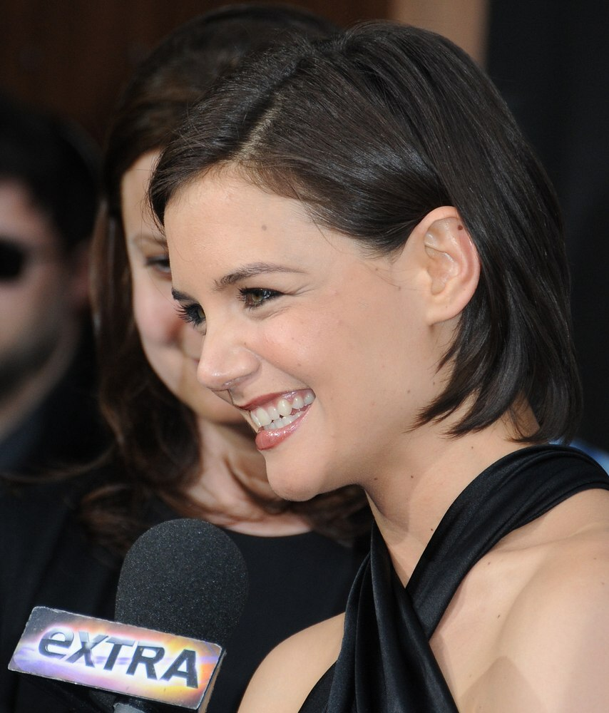 Katie Holmes With Her Hair Pulled Behind Her Ears And