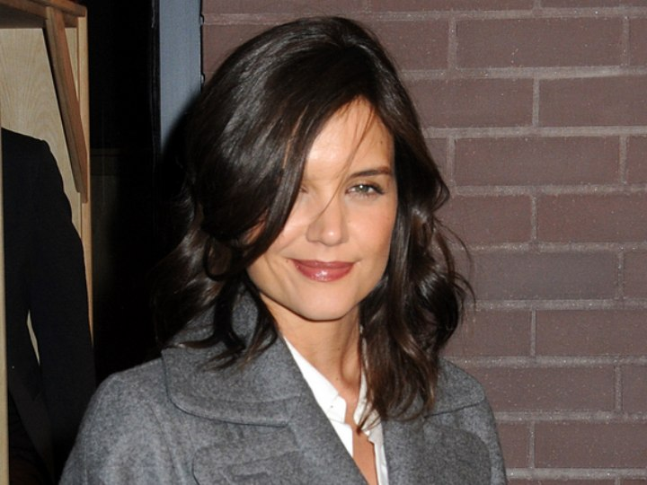 Katie Holmes wearing a grey wool coat