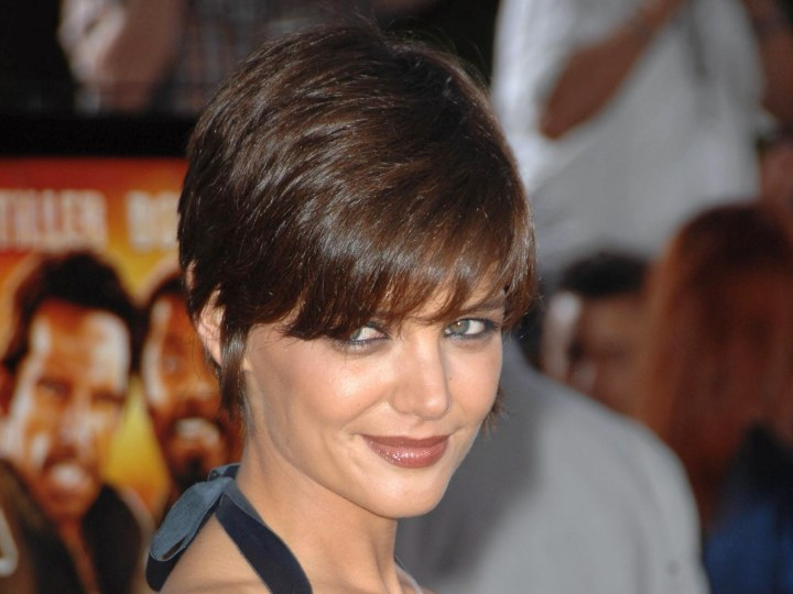 Katie Holmes with her hair in a pixie cut