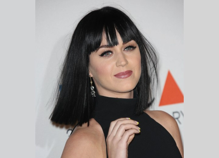 Katy Perry with black shoulder length hair