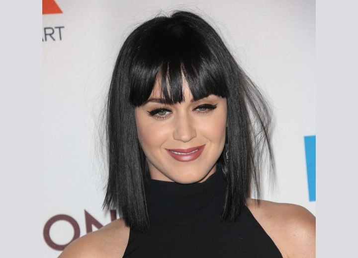 Katy Perry with blunt cut black hair