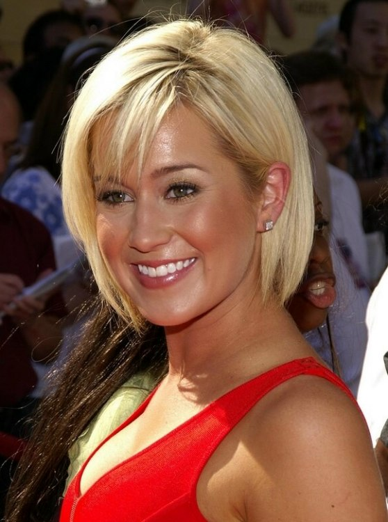 Kellie Picklers Easy Short Hair With A Fringe Hiding A Large Forehead