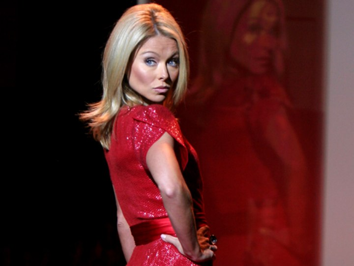 Kelly Ripa wearing a shimmery red dress