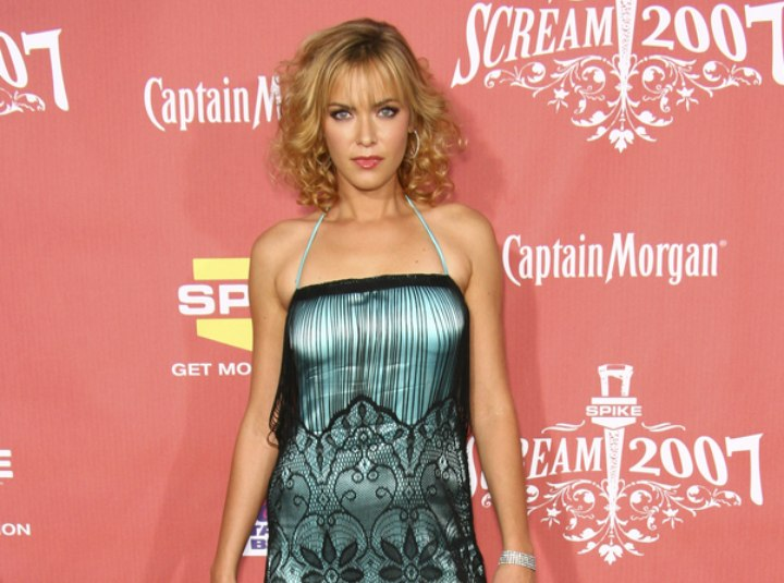 Kristanna Loken wearing a retro 1920s dress