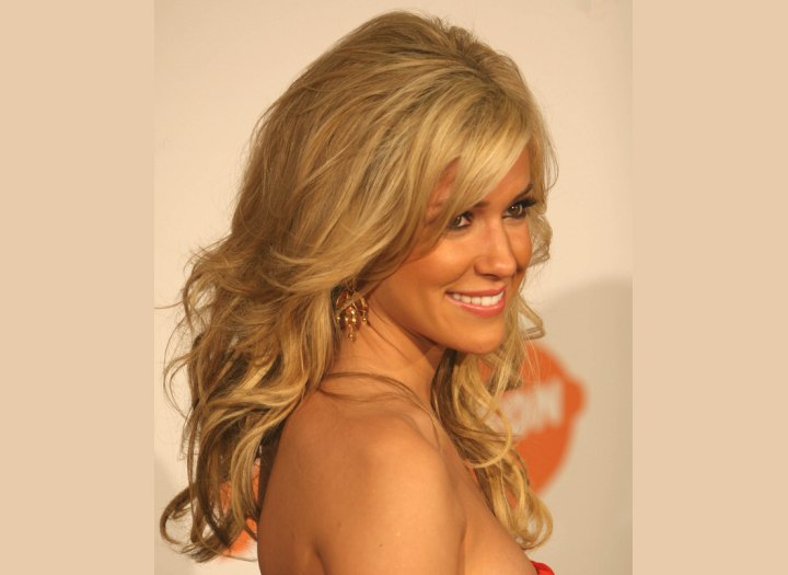 Kristin Cavallari's hairstyle with a long side fringe