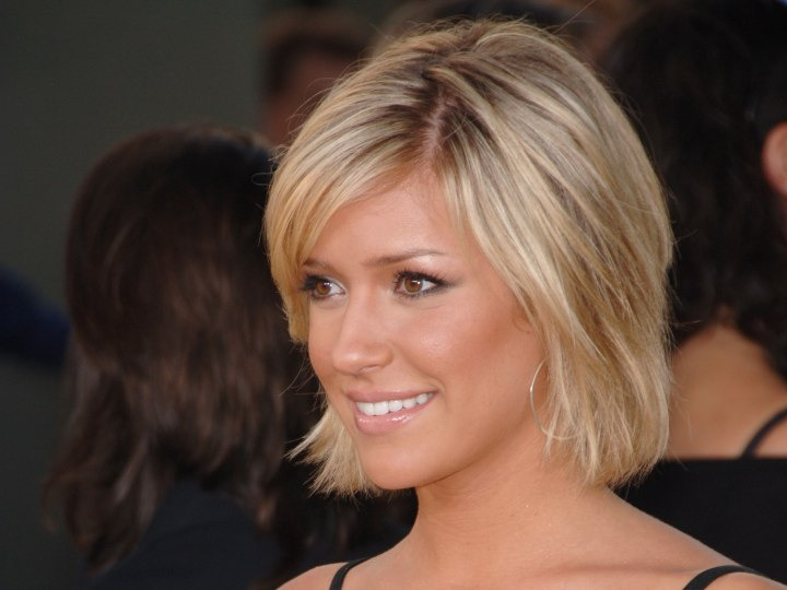 Kristin Cavallari's short hairstyle with side bangs
