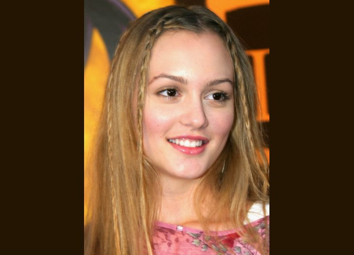 Leighton Meester wearing her hair long with braids