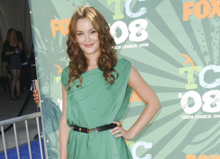 Leighton Meester wearing a green toga dress