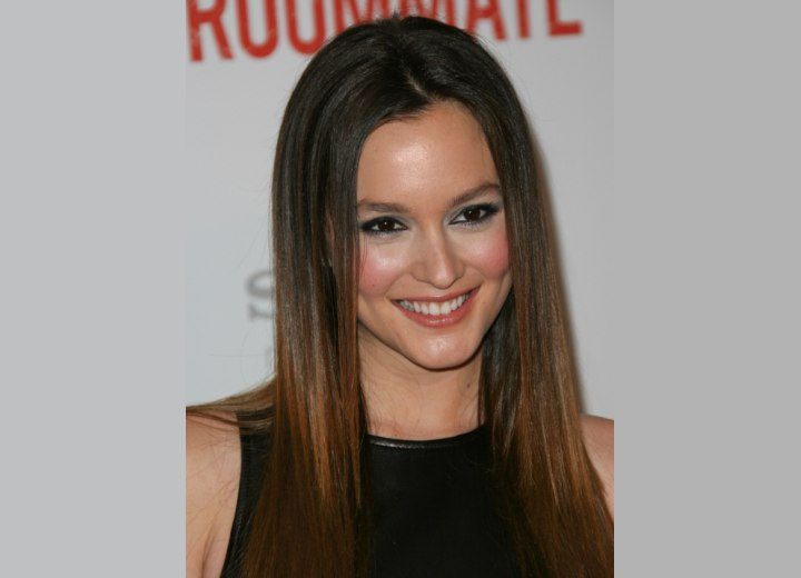 Crown view of Leighton Meester's hair