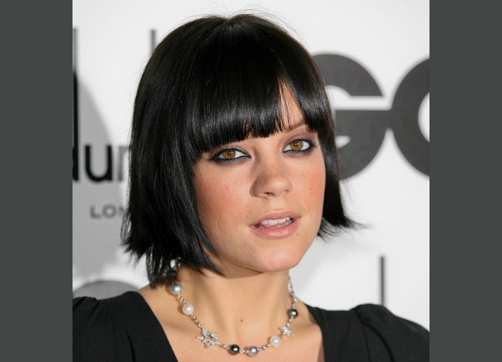 Lily Allen with her hair cut in a chin length bob