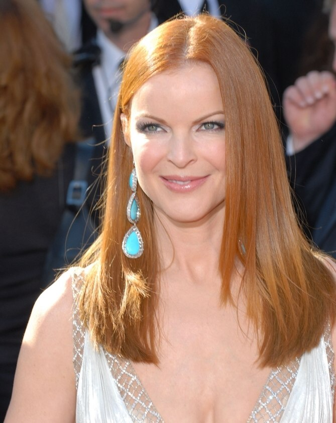Marcia Cross Sleek Red Hair Cut With Tapering For An Angled Corner