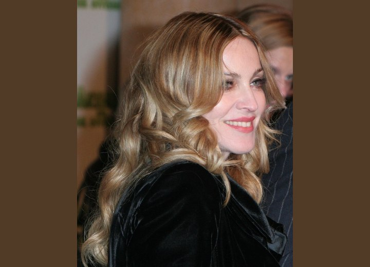 Side view of Madonna's hair with foils