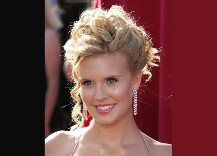Maggie Grace with her hair pinned up