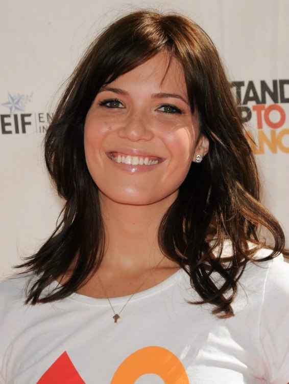 Mandy Moore With Long Chestnut Hair In An Informal Style