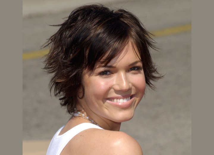 Mandy Moore with her hair in a long pixie
