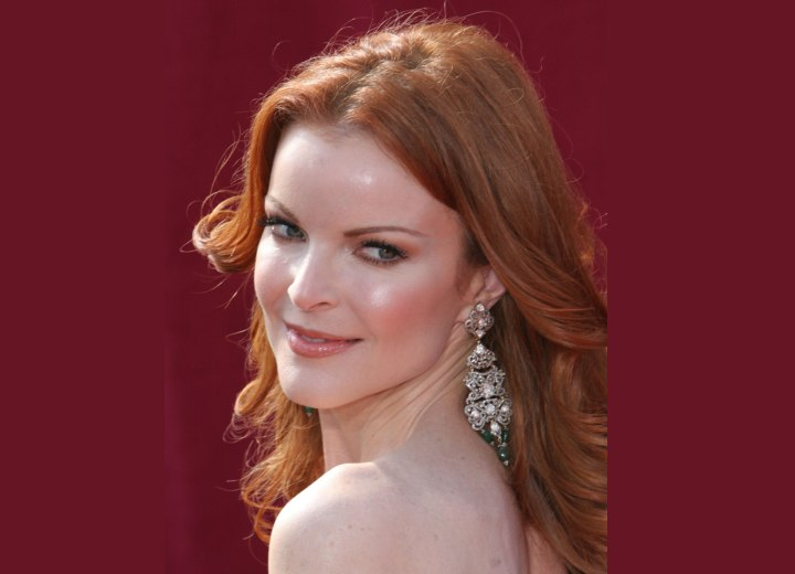 Redhead Marcia Cross with long hair