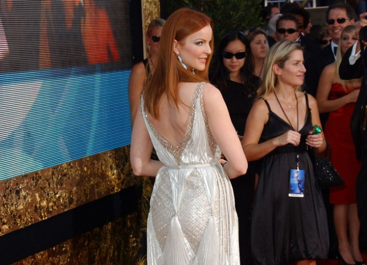 Back view of Marcia Cross long red hair