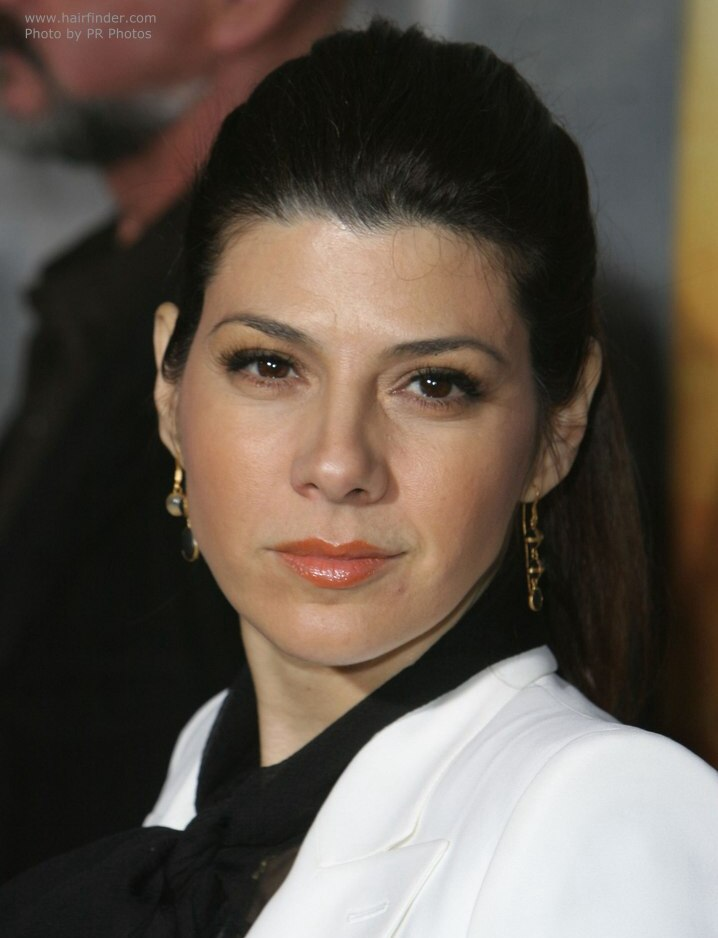 Hair Spray For Black Hair >> Marisa Tomei | Hairstyle with a high ponytail for a ...