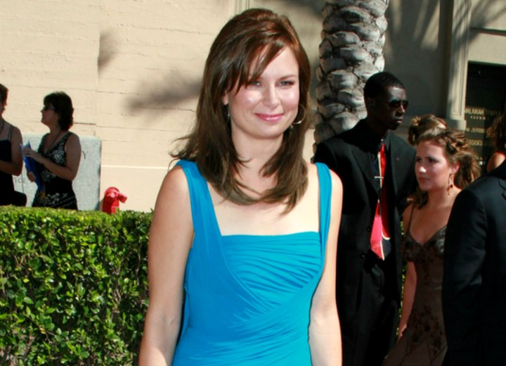 Mary Lynn Rajskub wearing a turquoise summer dress
