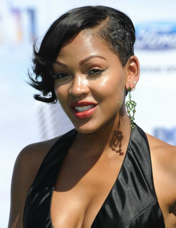 Magnificent Meagan Good Wearing Her Hair Short And Shaved On One Side Short Hairstyles Gunalazisus