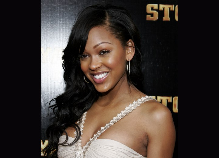 Meagan Good wearing her black hair with half coils