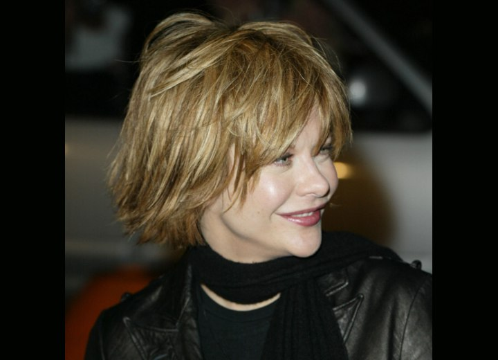 Meg Ryan's short hairstyle with feathering