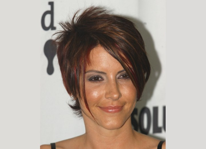 Michelle Clunie with her hair in a chopped pixiecut