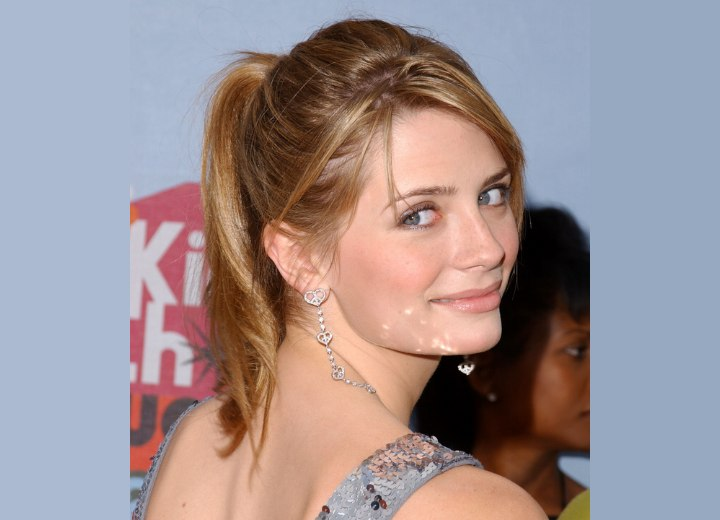 Mischa Barton wearing her hair in a high ponytail