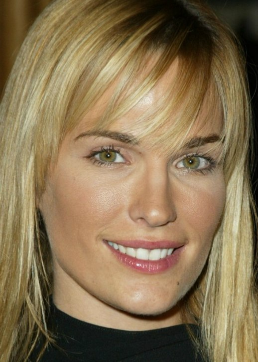 Molly Sims With Her Long Hair In An Open Style And Wearing A Black