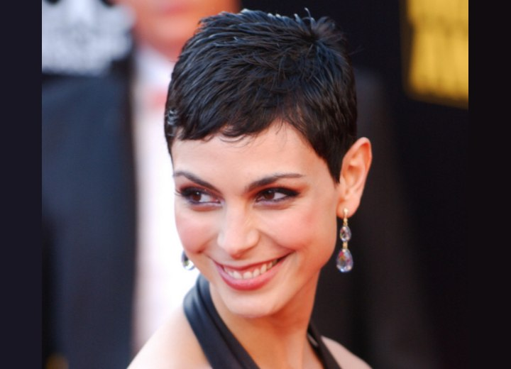 Morena Baccarin with her hair in a practical pixie