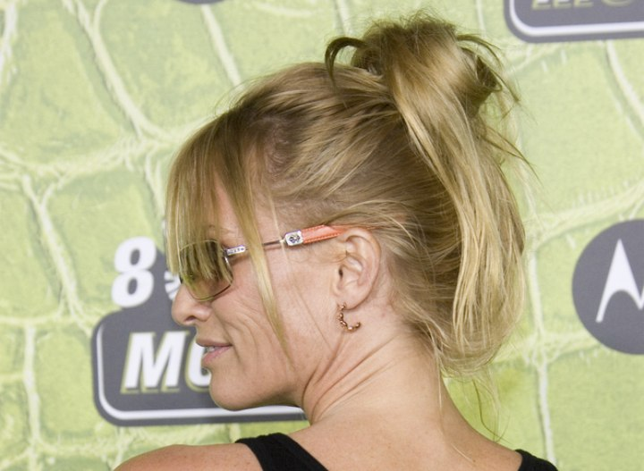 Nicollette Sheridan wearing her hair up