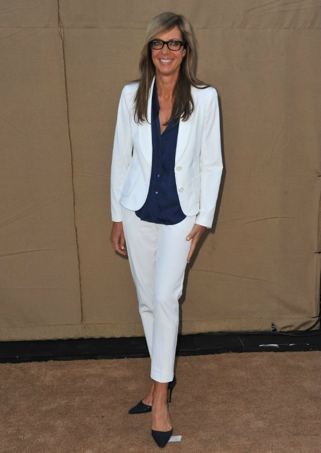 Allison Janney S Professional Look With Glasses And Long Straight Hair