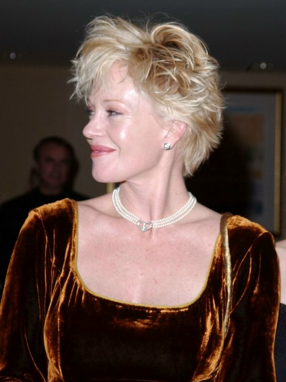 Melanie Griffith With A Short Wispy Hairstyle