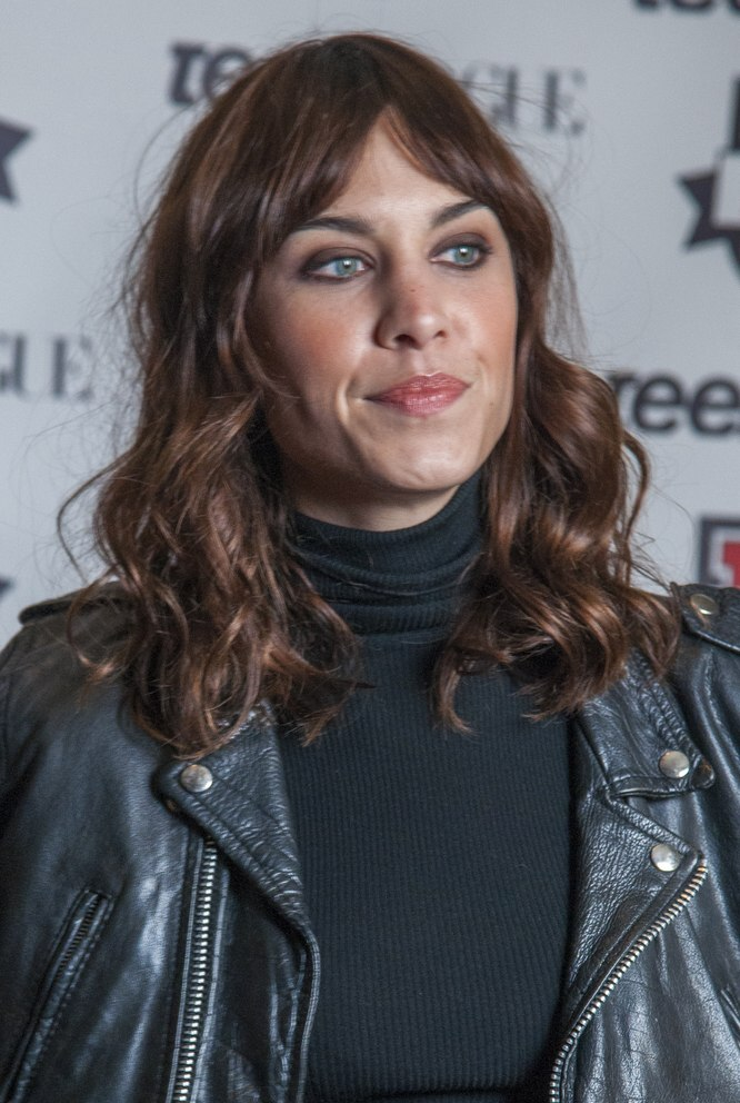 Alexa Chung Long Hair With Loose Curls Styled Away From The Face