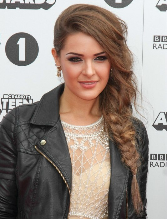 Anna Passey Wearing Her Long Hair In A Tousled Side Braid