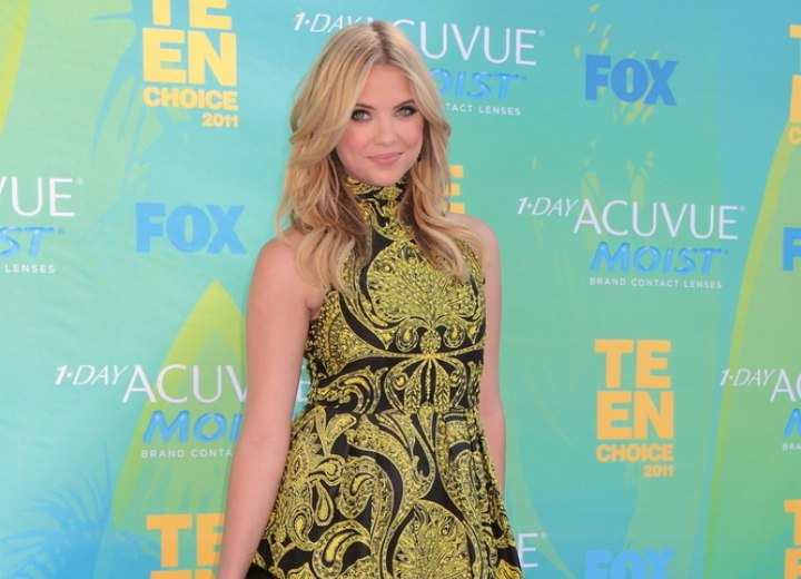 Hair and a short high neck dress for an Ashley Benson look