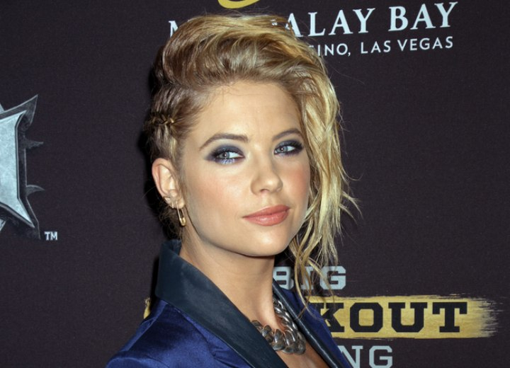 Ashley Benson wearing her hair up with a side braid