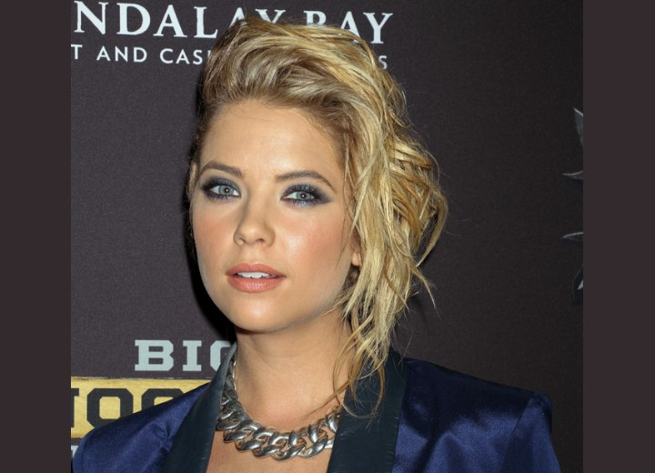 Ashley Benson wearing a punk-rock inspired up-style