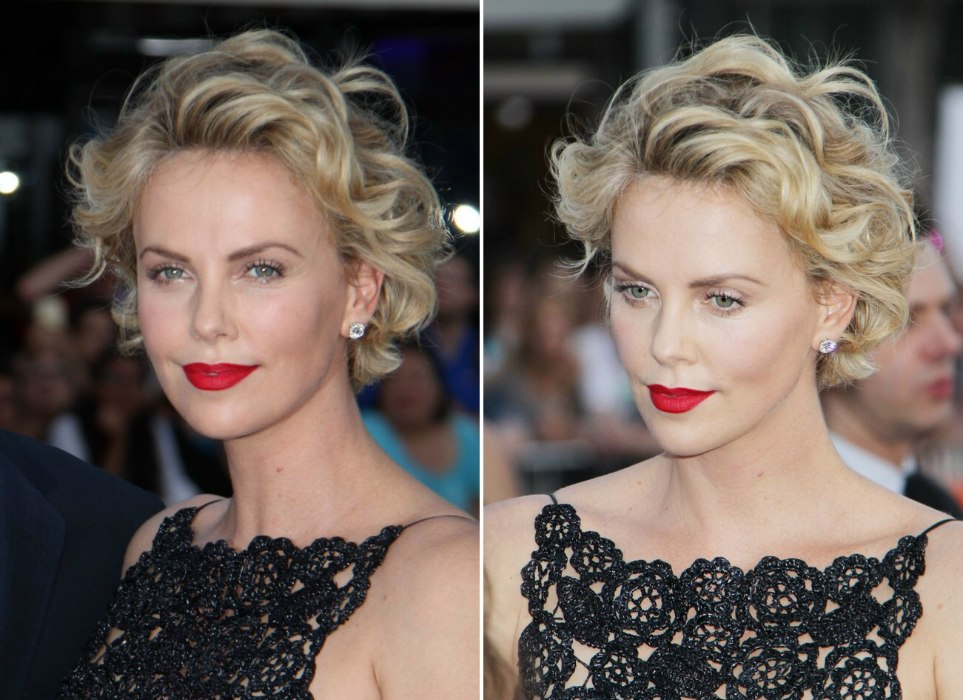 Strange Charlize Theron Short Curled Hairstyle With The Hair Away From Short Hairstyles For Black Women Fulllsitofus