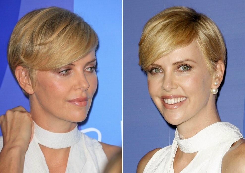 Charlize Theron Wearing Her Hair Short In A Soft Pixie