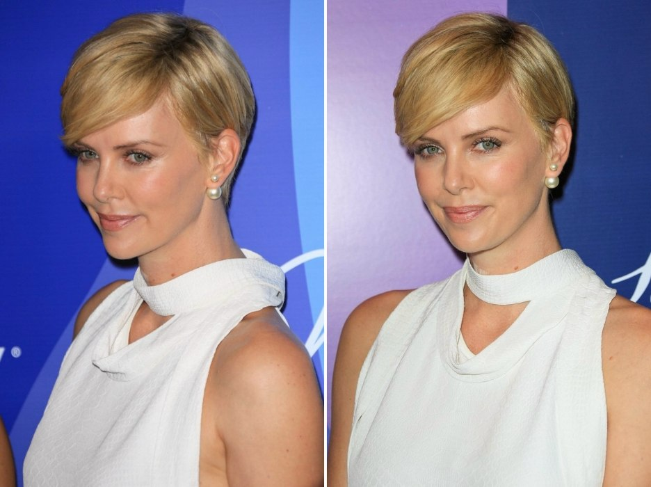 Sensational Charlize Theron Wearing Her Hair Short In A Soft Pixie With A Short Hairstyles For Black Women Fulllsitofus