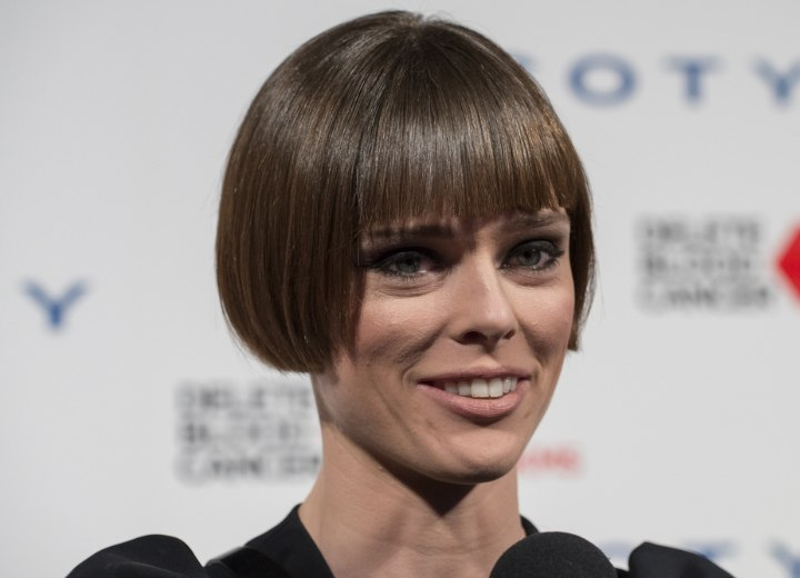 Coco Rocha with her stick straight hair in a bob