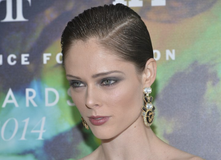 Coco Rocha with gel in her hair