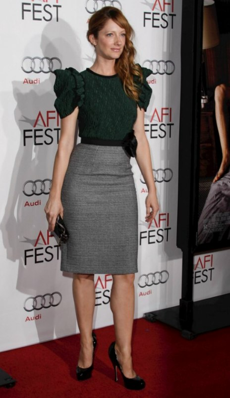 long haired redhead judy greer wearing her hair in an easy
