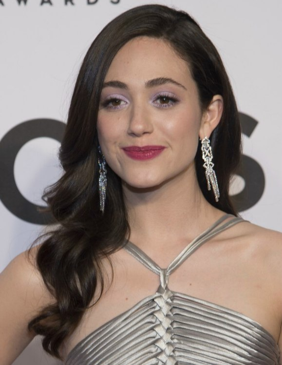 Emmy Rossum Long Hair Set In Loose Curls And Styled Down
