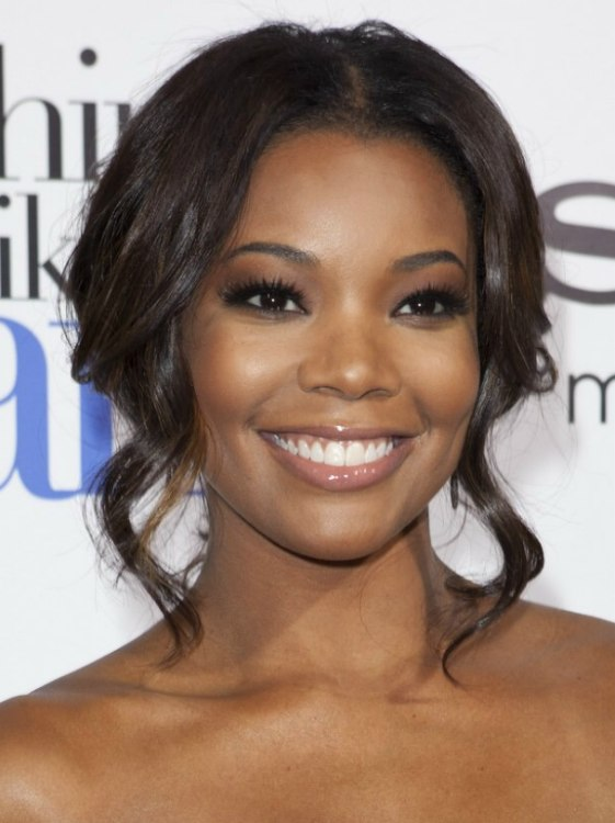 Swell Gabrielle Union Up Style With Swept Back Hair And Curled Tresses Short Hairstyles For Black Women Fulllsitofus