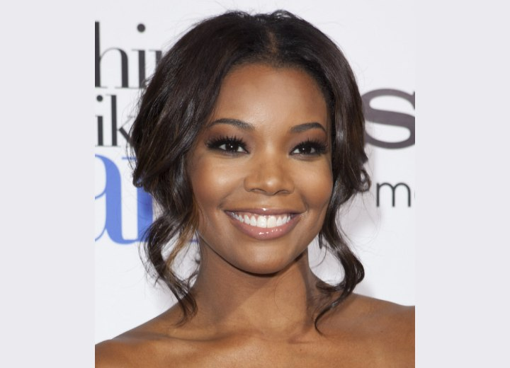 Gabrielle Union wearing her hair in an up-style