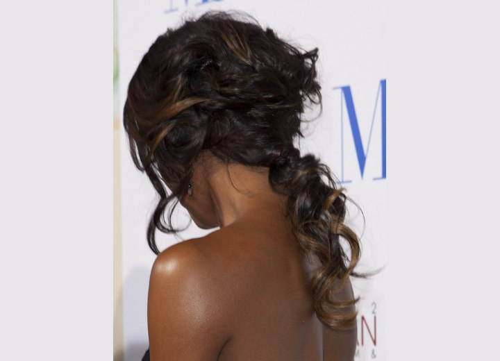 Back view of Gabrielle Union's updo with curled hair