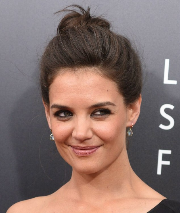 Katie Holmes With Her Hair Styled Into An Informal Bun